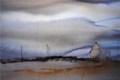 Bjorn Bernstrom watercolor landscap, art watercolor, watercolor paint, watercolor sky