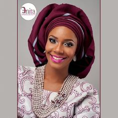 Nigerian wedding burgundy aso-oke by Molbaks makeup by Anita brows beauty, beads by Gee Balo photo by Tap studios 1