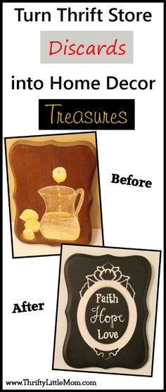 Step by step pictures + instructions for transforming a $1 thrift store plaque to make cute and inspiring home decor.