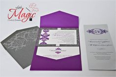 Purple & Gray Wedding Invitation