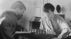 Hugh Laurie and Stephen Fry play chess in Fry's rooms at Cambridge, 1980.