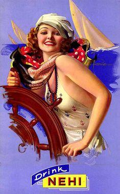 Her nautical print, rope collar adorned top is stellar! #1930s #food #pop #Nehi #ad #nautical #boat #summer #vintage