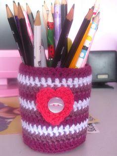 Crochet jam jar cover