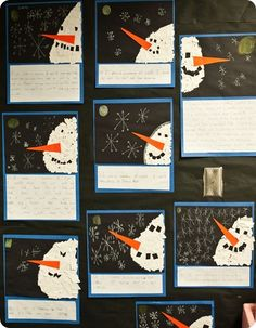 """After reading """"Snowmen at Night"""" - make tear art snowmen and write """"If I were a snowman at night, I would..."""""""