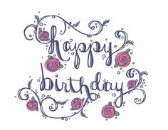 hand lettered happy birthday!