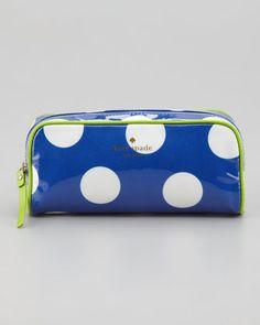 le pavillion polka-dot henrietta cosmetic small case, blue/cream by kate spade new york at Neiman Marcus.
