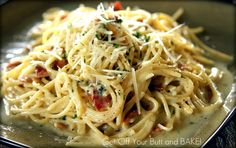 Creamy, Bacon Carbonara--sauce is creamy and cheesy.