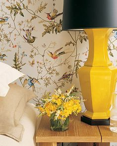 Yellow Lamp  If you are not ready to commit to a large swath of color, consider an autumnal-hued accent, like this golden lamp with bold black shade.