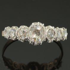 Antique diamond engagement ring in line diamond rose gold wedding ring ref.13015-0041