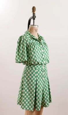 1940s checked gingham playsuit