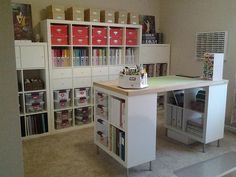 island style, scrapbook rooms, craftroom, shelv, craft tables