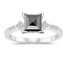 1.20-1.70 Cts Black & White Diamond Engagement Ring in 14K White Gold (347522)
