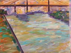 #Abstract / #colorful #Savannah #Bridge #painting by #Ann #Lutz.