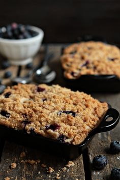 Blueberry Buckle baked in mini cast iron pans from My Baking Addiction