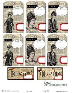 Free Printable Download – Vintage Art Journaling Tags