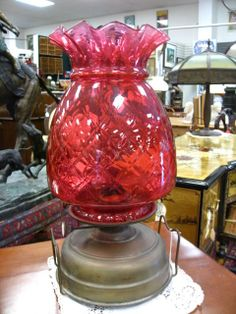 Old Kerosene Lanterns | antique oil lamp  with large and beautiful cranberry ...