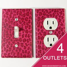 animal print Pink Cheetah Spots Light Switch Plate by ModernSwitch, $34.00