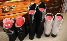 Genius closet organization tip: use a pool noodle to keep boots upright