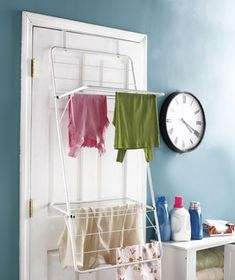 Over-the-Door Foldaway Drying Rack - convenient but must be PUT AWAY when done or it will become a permanent clutter-collector!