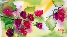 How To Paint Raspberries in Watercolor paint raspberri