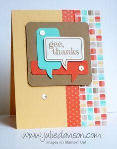 Stampin' Up! Just Sayin' + Word Bubble Framelits: Gee Thanks Retro Fresh Card #stampinup www.juliedavison.com