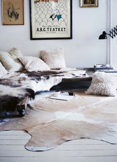 #living #space #home #interior #house #cowhide #fur