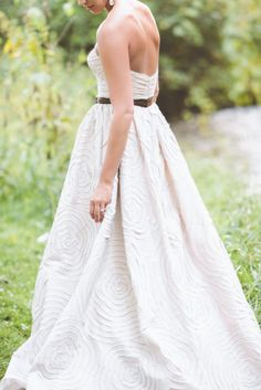 Detailed creme and brown wedding dress: http://www.stylemepretty.com/little-black-book-blog/2014/04/10/new-york-glamour-in-a-wisconsin-barn-wedding/ | Photography: Paper Antler - http://paperantler.com/