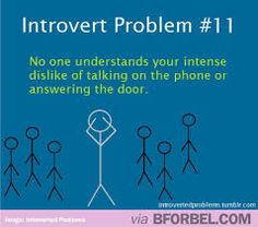 But I'm not an introvert. ....I just don't like talking on the phone. Or answering the door