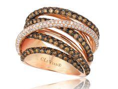 Chocolate Diamonds® and Vanilla Diamonds® Gladiator® Ring in Strawberry Gold®.