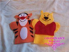 Ordinary Magic: Disney baby toys - No sew hand puppets!  So cute! #Disney #craft