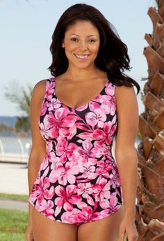Beach Belle Honolulu Pink Plus Size Sarong Front Swimsuit Plus Size Swimsuit Beach Belle. $49.30