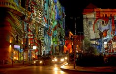 Light show in Budapest streets by Germán Vogel, via Flickr