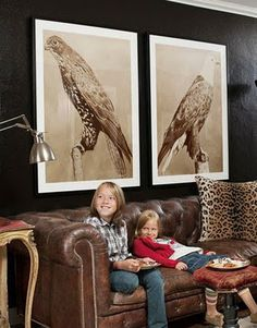 black walls, carolin scheeler, leather sofas, chesterfield sofa, dark walls, prints, live room, big art, bird print