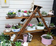 This is how you #recycle old #ladder and #pots - ceramic or tins! Very chic and very #green, don't you think so? https://www.facebook.com/RecyclingandDIYprojects
