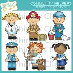 Community helpers kids clip art.