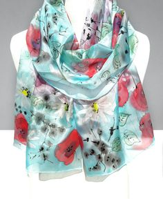 Poppies Hand Painted Scarf. Genuine Art on Silk. by TeresaMare
