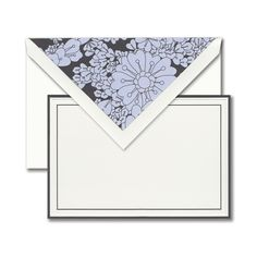 Graphite: Every wardrobe staple deserves the perfect statement piece. Bordered in romantic graphite, this card pairs perfectly with an applique patterned liner in matching hues.