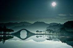 8. A bridge and the moon in Dahu Park, Taipei.