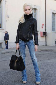 Leather Jacket, Skinnies & Nude Pumps