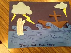 Children's craft. Jesus walks on water in the middle of the storm out to the apostles