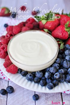 White Chocolate Cheesecake Fruit  Dip ~ melted white chocolate, blended with cream cheese and fresh whipped cream, makes an effortless, delicious fruit dip | FiveHeartHome.com for OneSheTwoShe.com