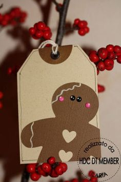 "Gingerbread tag- why don't i ever think of putting the element ""hanging"" off the card.. cute idea"