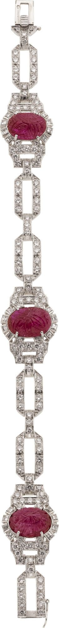 Art Deco Ruby, Diamond, Platinum Bracelet