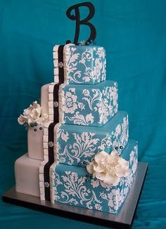 pattern, damask wedding, wedding ideas, colors, wedding cake designs, blue cakes, wedding cakes, blue weddings, blues