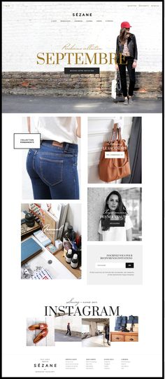 """i like the idea of a """"cover Photo page"""" http://www.sezane.com/fr more on http://themeforest.net/?ref=Vision7Studio"""