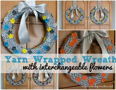 Yarn wrapped wreath with interchangeable flowers --- simply change out the flowers for each season!
