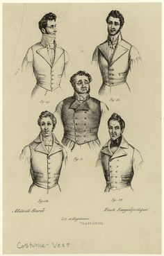 Men in vests and neckties. (1834). NYPL Digital Gallery. 1830, men attir, men fashion, 1834 men, neckti, vest
