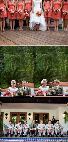 I love this idea!!!!! Pink Coral bridesmaids dresses and the light grey groomsmen suits, and a darker grey Groom suit. Minus the navy! Coral and gray is nice