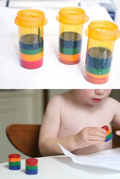 Melt down broken crayons in a film canister or prescription bottle to make new, giant, awesome crayons.
