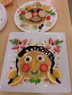 Kids Meal Idea: Pancake Face with Fruits and Chocolate Sauce|デコパンケーキ